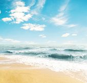 Yellow sand beach and blue sky and sea