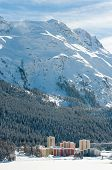 St Moritz, Alpine Alps mountain landscape. Beautiful winter view on sunny day.