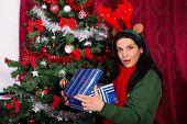 Amazed Woman Open Christmas Gift