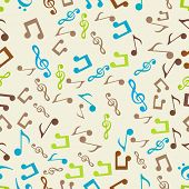 Seamless pattern of musical notes.