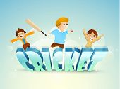Cute little boys enjoying with bat, ball and 3D text Cricket on sky blue background.