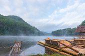 Bamboo raft on Pang Ung reservoir lake.