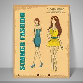 Summer fashion flyer with illustration of young fashionable girls on retro background.