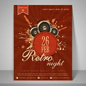 Stylish banner or flyer for retro night party with speakers.