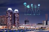 Love Sparkle Fireworks Celebrating Over Odaiba, Japan