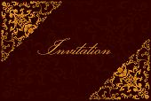 Vintage invitation card. Template frame design for greeting and wedding card