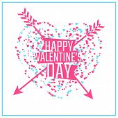 Happy Valentine's day greeting or invitation card with heart of particles and arrows. Vector illustr