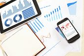business financial chart and graph report display in mobile devices
