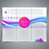 Template page design, brochure, leaflet, with colorful abstract shape and business icons - Vector illustration
