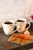 Valentine Greeting Card With Two Cups On Wooden Tray