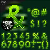 Techno style alphabet  sensitive to the background. Art-deco. Set 4