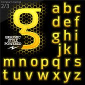 Techno style alphabet sensitive to the background. Compact normal. Set 2