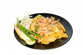 picture of thai food  - Thai food Pad thai fried dumplings with shrimp in padthai style isolate white background - JPG