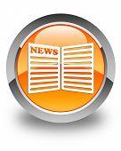 Newspaper Icon Glossy Orange Round Button