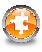 Puzzle Icon Glossy Orange Round Button