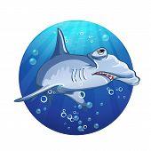 Hammerhead shark cartoon image.