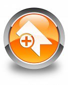 Bookmark Icon Glossy Orange Round Button