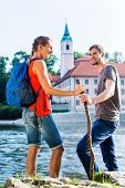 Tourist couple hiking at Danube Weltenburg monastery