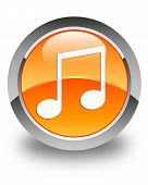 Music Icon Glossy Orange Round Button