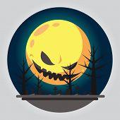 Flat Design Of Evil Moon