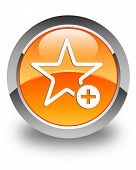 Add To Favorite Icon Glossy Orange Round Button
