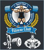 Bodybuilder with a barbell - vector set