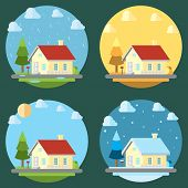 Pack Of Flat Design Four Seasons Illustration Vector