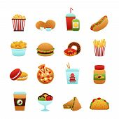 foto of potato chips  - Fast food icon set with donut soda potato chips pizza isolated vector illustration - JPG