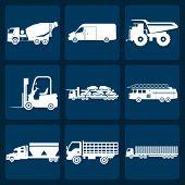 Set Of Nine Icons Of Trucks
