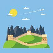 Flat Design Great Wall Of China
