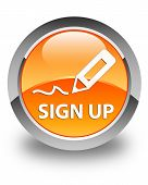 Sign Up Glossy Orange Round Button