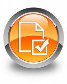 Survey Icon Glossy Orange Round Button