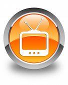Tv  Icon Glossy Orange Round Button