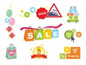 Sale tags. Sale banners set. Shopping