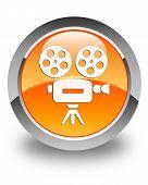 Video Camera Icon Glossy Orange Round Button