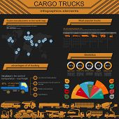 Cargo Transportation Infographics, Trucks, Lorry. Elements Infographics