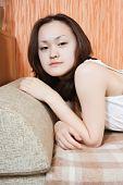 Girl  Relaxing On Sofa