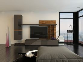 picture of ottoman  - 3D Rendering of Entertainment room interior with a large flat screen TV and speakers on a wall alongside floor - JPG