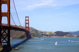 stock photo of golden gate bridge  - view to golden gate bridge and san francisco bay - JPG