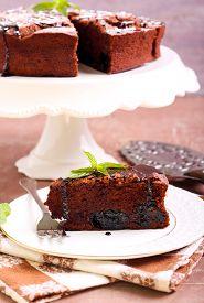 image of torte  - Prune and chocolate torte slice - JPG
