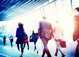 image of commutator  - Business People Walking Commuter Corporate Travel Concept - JPG
