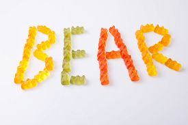 picture of gummy bear  - Letters made with colorful gummy bears making the word bear - JPG