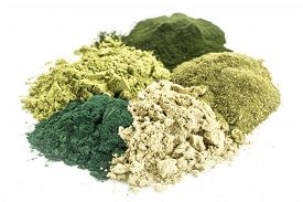 stock photo of chlorella  - a pile of five healthy green dietary supplement powders  - JPG