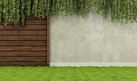 stock photo of wooden fence  - Garden with old wooden fence and wall  - JPG
