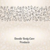 pic of cosmetic products  - doodle hand drawn cosmetic and self care products background - JPG