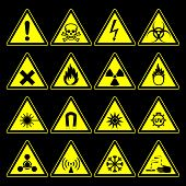 image of hazardous  - triangular warning hazard symbols and signs collection isolated on black background - JPG