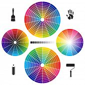 image of color wheel  - Set of Color Wheels with separate flat colors - JPG