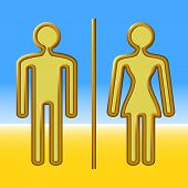 picture of copper  - Man and woman out of copper wire on a blue and yellow background - JPG