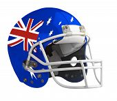 stock photo of football helmet  - Flagged Australia American football helmet isolated on a white background with detailed clipping path - JPG