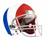 image of football helmet  - Flagged France American football helmet isolated on a white background with detailed clipping path - JPG